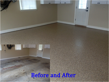 beforeafterfloorcoating - How To Epoxy Garage Floor