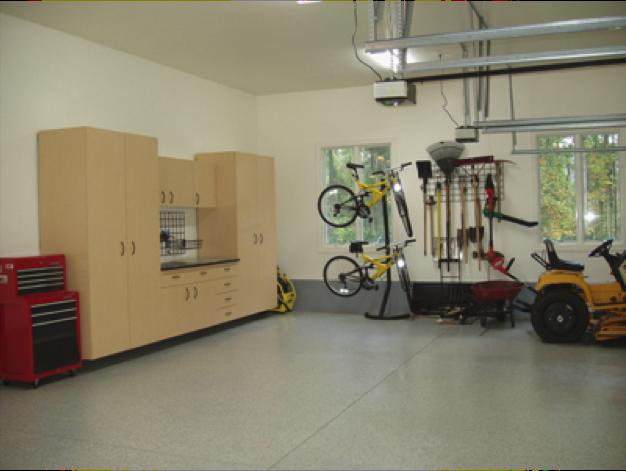 Garage floor coatings add to a large, functional garage.