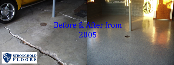 Before and after Stronhold Floor garage project