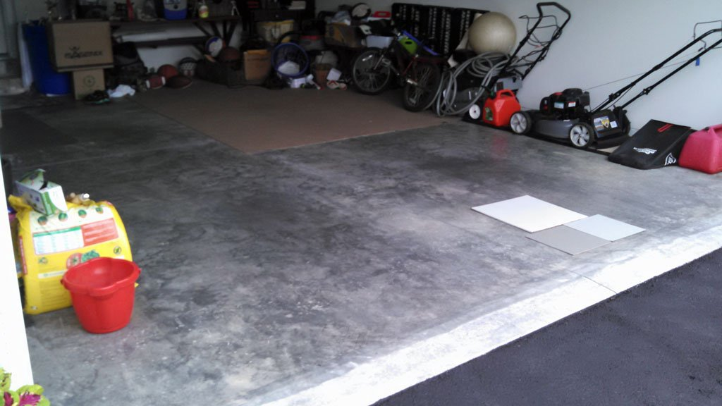 Before painting garage floor with epoxy.