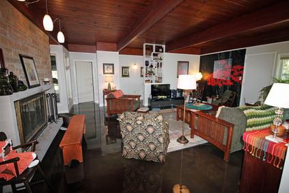 Metallic epoxy enhances this Mid-Century Modern home in Lancaster, PA